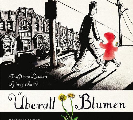 Buchcover Überall Blumen: Ein Mann und ein Mädchen mit Blumen gehen durch die Stadt