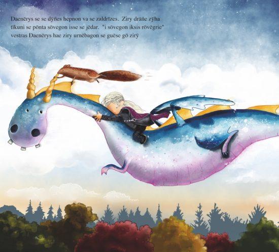 Ein Drache und eine Figur aus Game of Thrones, die über einen Wald fliegen