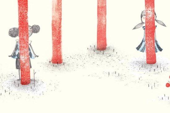 Hiding Heidi: Kinder, die im Wald Verstecken spielen