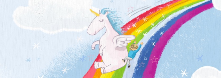 Personalised children's book for two characters. Unicorn