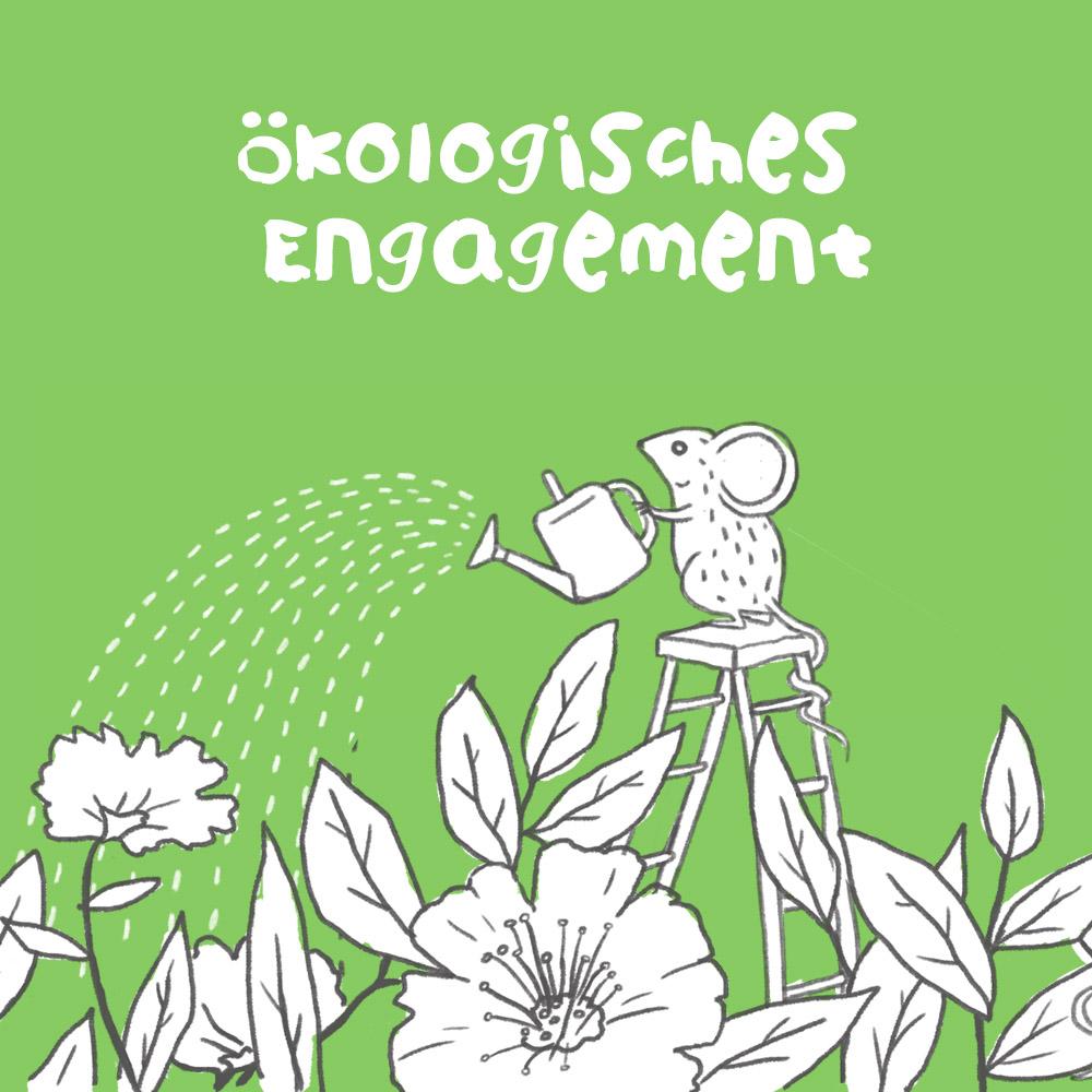 Umwelt Engagement: Eine Maus die Pflanzen giesst