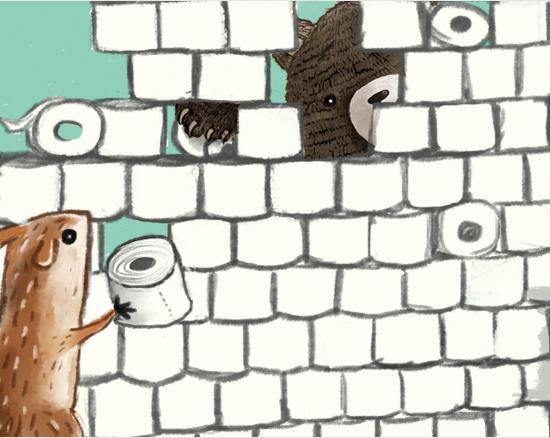 Eichhörnchen, Bär und Maus bauen eine Mauer aus Klopapierrollen