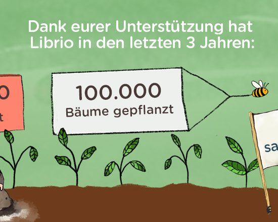 Librio - 100000 Bäume gepflanzt - 100000 Bücher gespendet