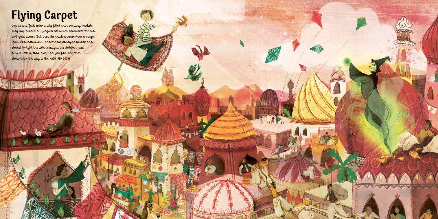 Ein magisches Buch: Fliegender Teppich über orientalischer Zauberwelt