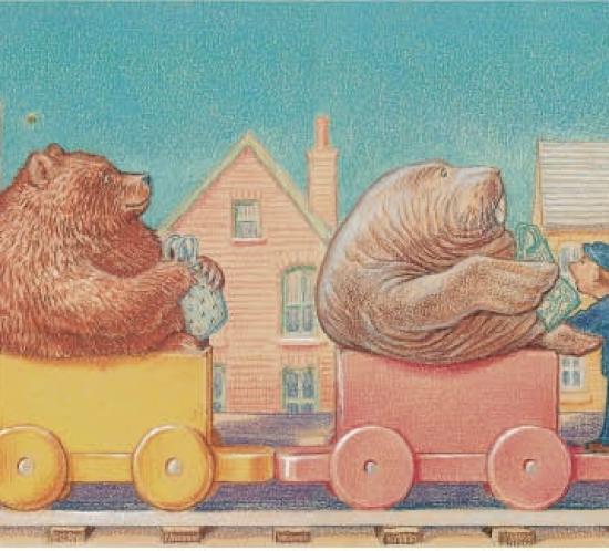 Elefant, Bär und Walross in einem Spielzeugzug