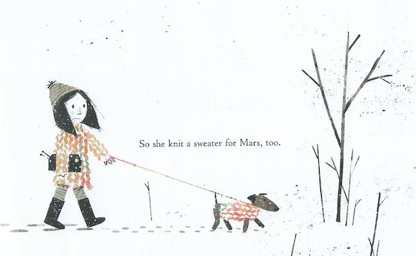 Mädchen mit Wollknäuel und Hund, beide in farbenfroher Kleidung