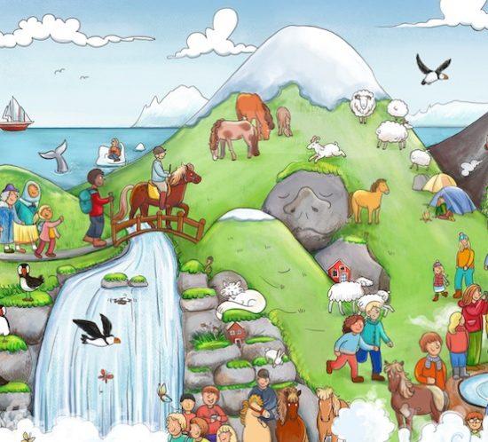 Island-Wimmelbild mit Vulkan, Ponys und Geysir