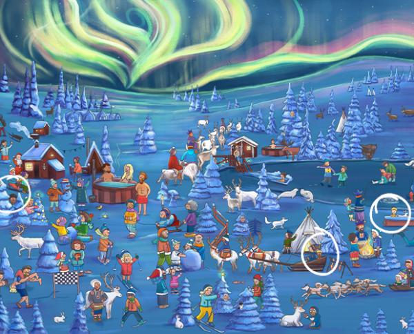 personalisiertes Wimmelbuch: Winterlandschaft mit Nordlichtern