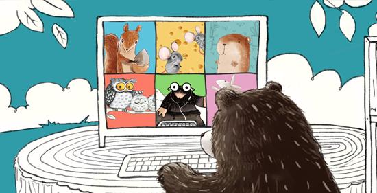 Herr Bär im Videocall mit den anderen Waldtieren