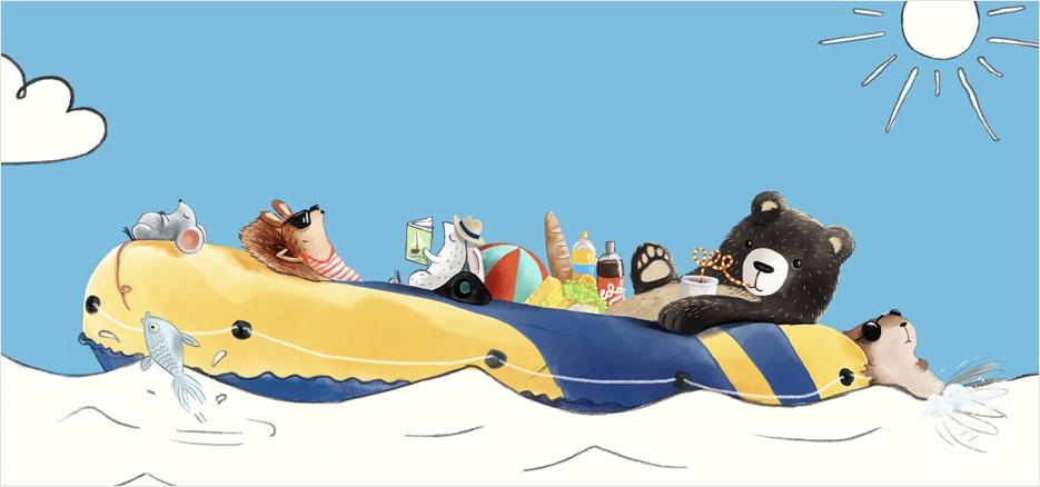 Librio-Waldtiere im Boot