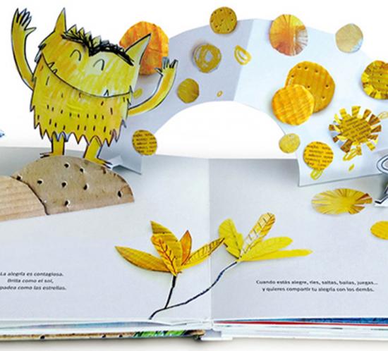 """Eine Seite aus dem Buch """"Farbengfroh"""" zum Thema Freude"""