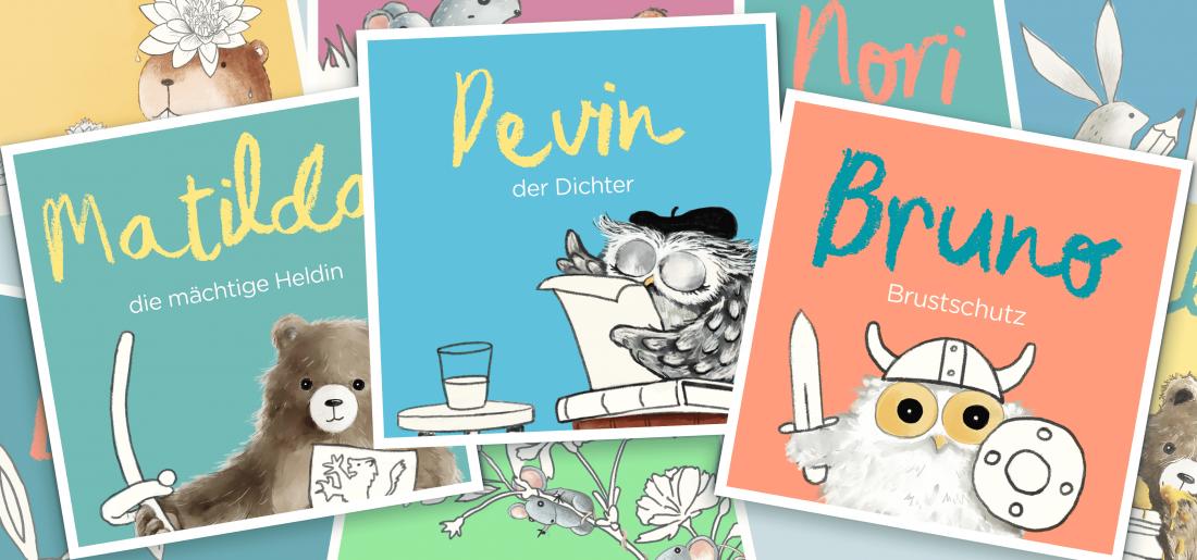 Babynamen: Matilda, Devin, Bruno und schöne Illustrationen von Tieren