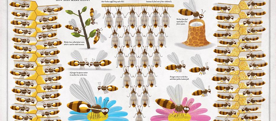 Illustration von Piotr Socha: Bienen