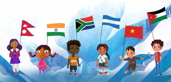 Six different children representing different countries in Be Brave book
