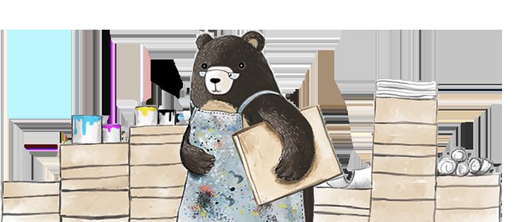 Mr Bear in his printing shop