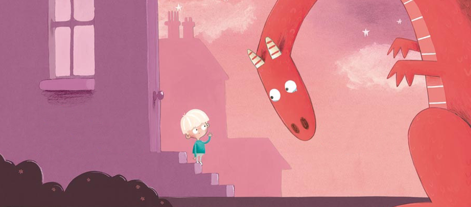 Drachenpost von Emma Yarlett: Junge und riesiger, roter Drachen