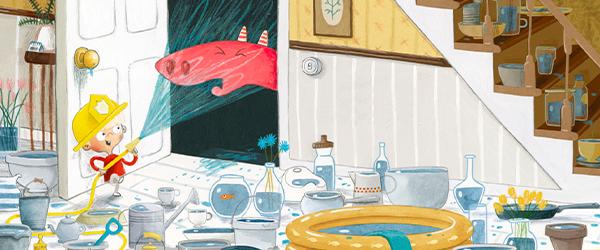 Drachenpost von Emma Yarlett: Der Junge spritzt den Drachen mit Wasser ab
