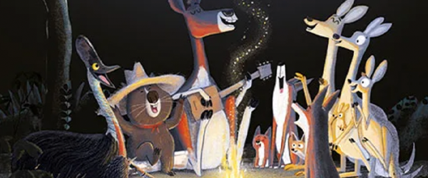 Animals all sitting around the campfire in the Koala who could
