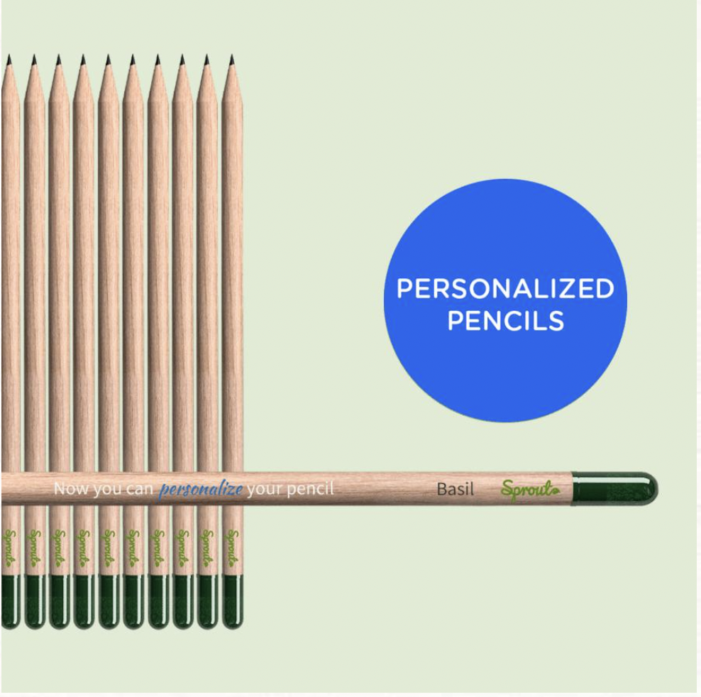 Sprout pencils personalised