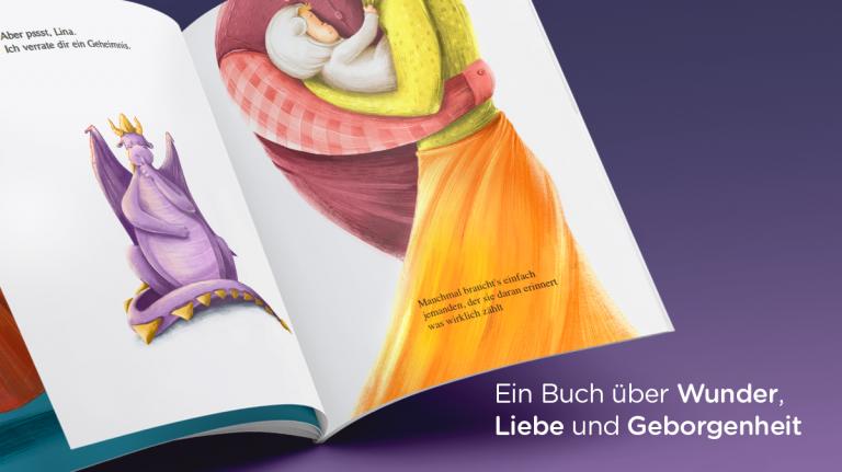 Geschenkidee zur Geburt: Bilderbuch, mit Drache und Eltern und Baby