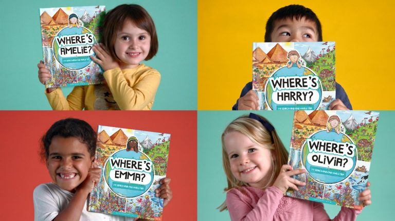Four kids with Search and Find world book